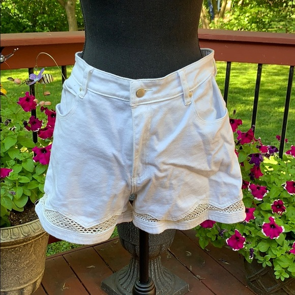 Mink Pink Virtue Mesh High Waist White Shorts